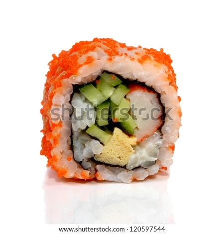 Roll Sushi isolated on white background - stock photo