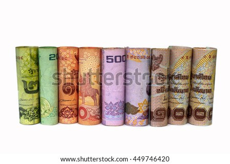 Roll thai money banknotes on white background