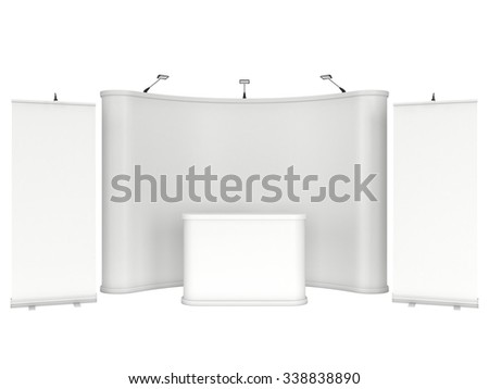 Roll Up and Pop Up Banner Stands. Trade show booth white and blank. 3d render isolated on white background. High Resolution Template for your design. - stock photo