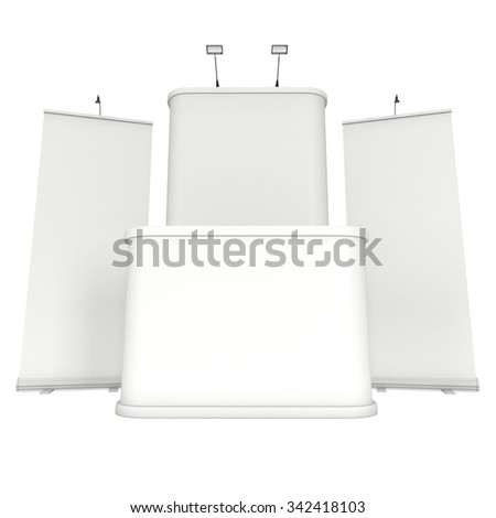 Roll Up and Pop Up Banner Stands. Trade show booth white and blank. 3d render isolated on white background. High Resolution Template for your design.