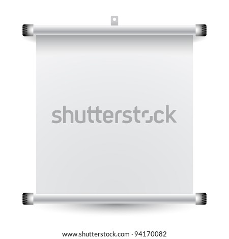 roll up banner against white background; abstract art illustration - stock photo
