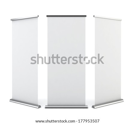 Roll up banner. 3d illustration on white background