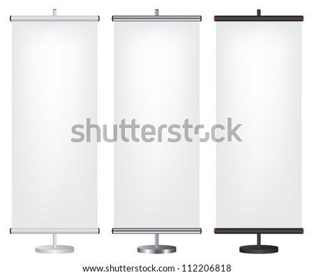 Roll up banner different color illustration - stock photo