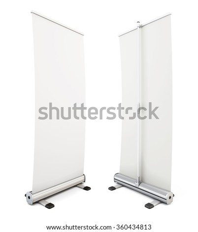 Roll up banner isolated on white background. Two blank roll up display banner. 3d rendering.