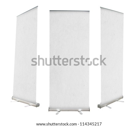 Roll up banner with paper canvas texture, isolated on white background (Save Paths For design work)