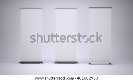 Roll up banners with paper canvas texture on white background. 3D rendering