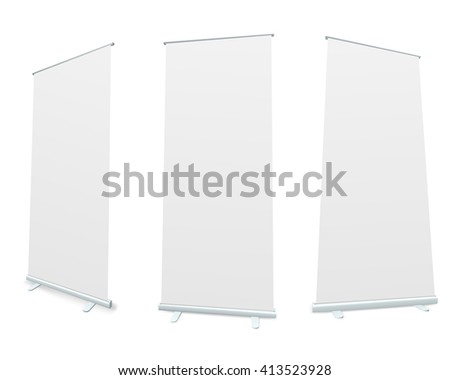 Roll-up blank white display realistic 3D illustration. - stock photo