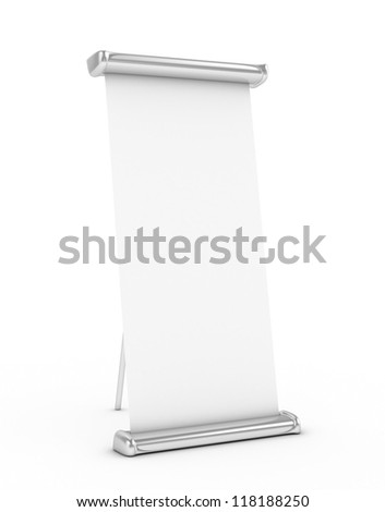 Roll Up stand 3d rendered isolated - stock photo
