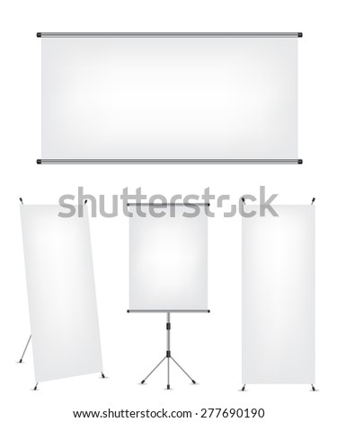 Roll up x-stand banner and projection screen - stock photo