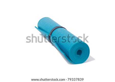 roll up yoga mat on white - stock photo