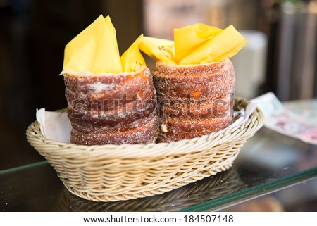 Rolled and grilled pasteries - stock photo