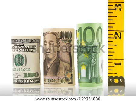 Rolled bills of euro, yen, dollar and tape measure - stock photo