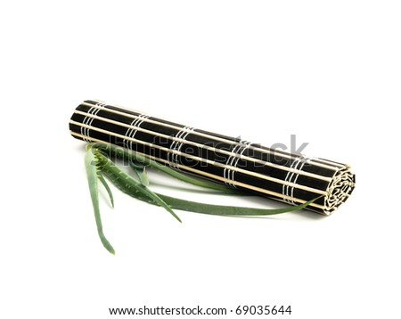 Rolled black bamboo mat and fresh aloe vera on white background.
