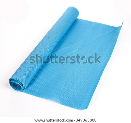 rolled blue napkin on a white background