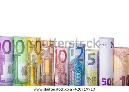 Rolled european banknotes isolated on a white background with a space for text