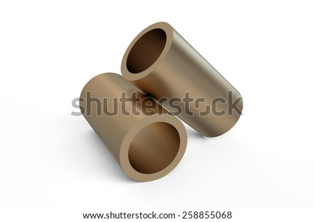 rolled metal, bronze tube isolated on white background