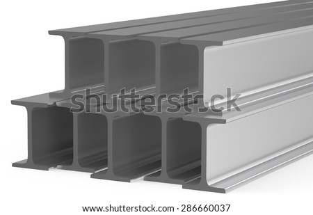 rolled metal H-beam isolated on white background