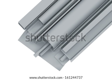 Rolled metal pipes, angles, channels, fixtures and sheet. 3d render