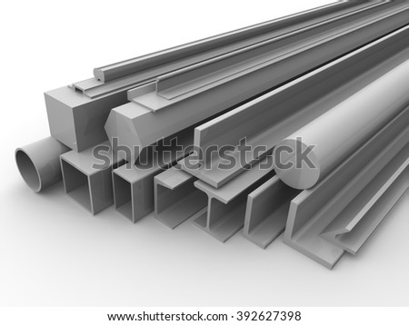 Rolled metal products. Varied metal products lies on a white surface.  The three-dimensional illustration. Isolated