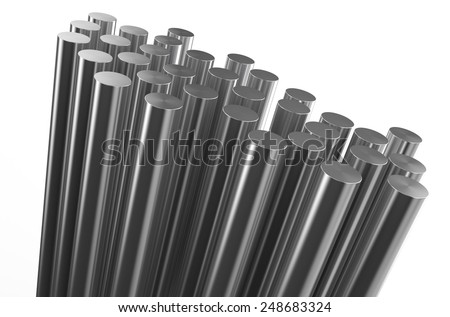 rolled metal, rods isolated on white background - stock photo