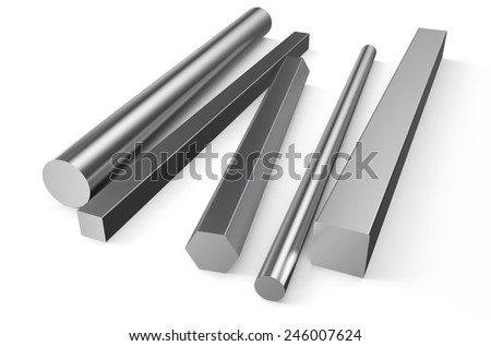 rolled metal stock isolated on white background - stock photo