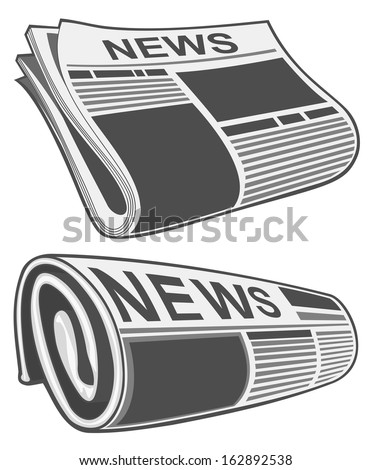 Rolled newspaper - stock photo