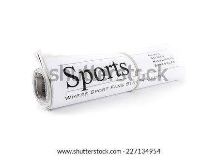 Rolled Newspaper isolated on white for sports - stock photo