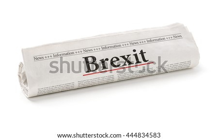 Rolled newspaper with the headline Brexit