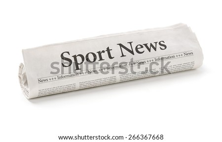 Rolled newspaper with the headline Sport News - stock photo