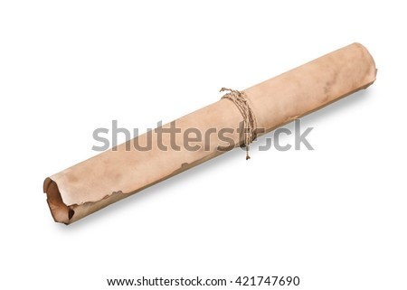 rolled old paper isolated on a white background
