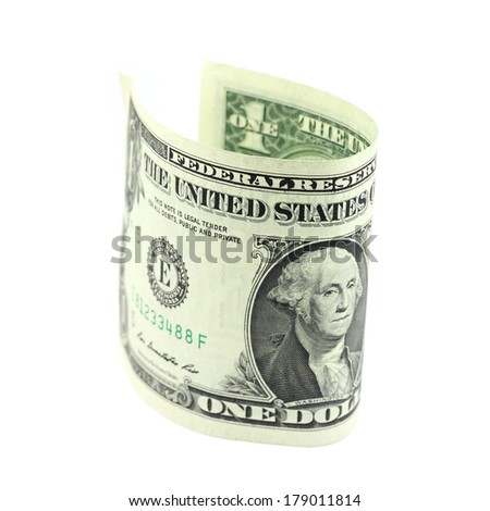 rolled one dollar bill on white background