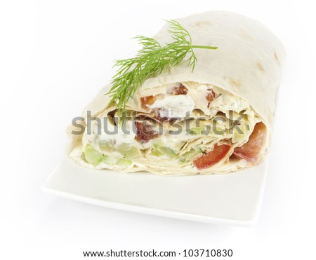 rolled sandwich - stock photo