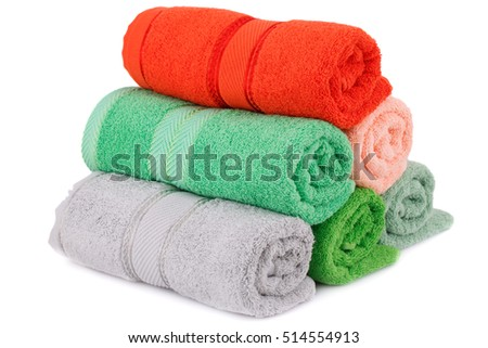 Rolled towels isolated on white background.