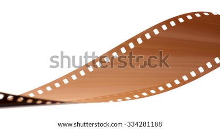 Rolled undeveloped film strip horizontal. - stock photo