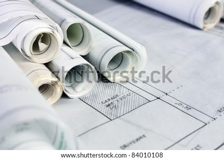 Rolled up Blueprints and Drawings - stock photo