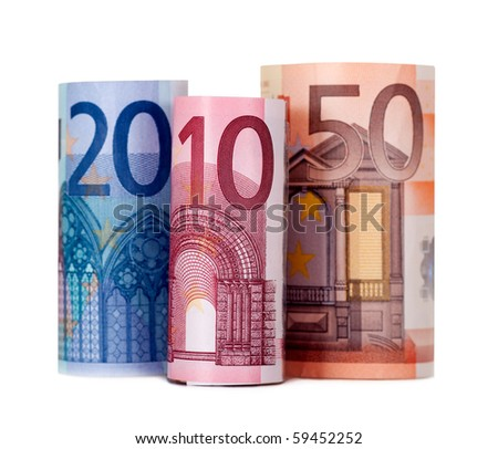 Rolled up eighty euro isolated on white background - stock photo