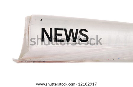 Rolled up newspaper with news headline isolated on white background