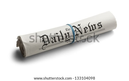 Rolled Up Newspaper with Rubber Band of the Daily News. Isolated on a White Background. - stock photo