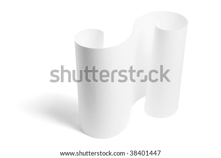 Rolled Up Paper on Isolated White Background