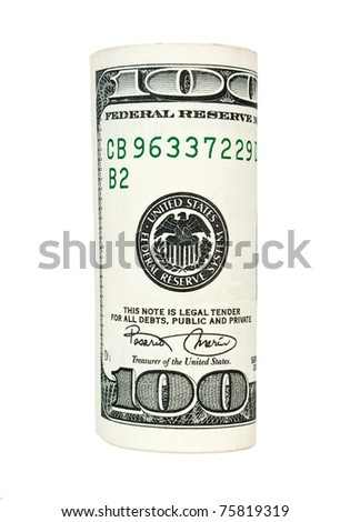 Rolled 100 US dollars banknote isolated on white - stock photo