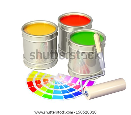 Roller and paints in metal banks. Isolated over white