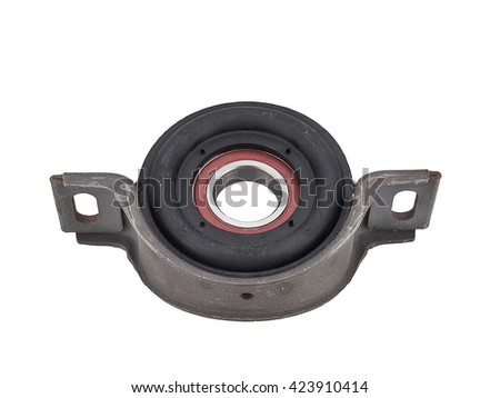 Roller bearings on white background. Pillow block bearing. Spare part cardan shaft bearing for car. Ball bearing unit - stock photo