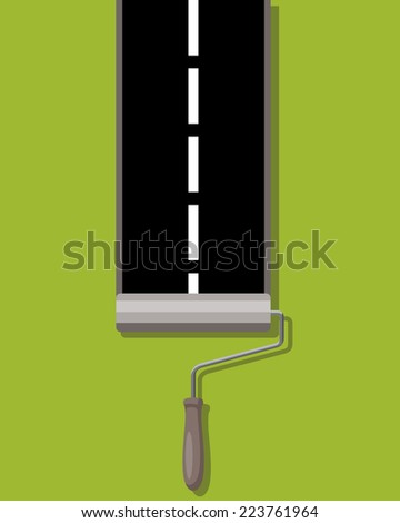 roller brush painting road - stock photo