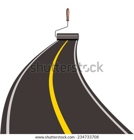 roller brush painting road, isolated on white background - stock photo