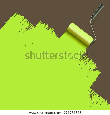 roller brush painting with green. raster version - stock photo