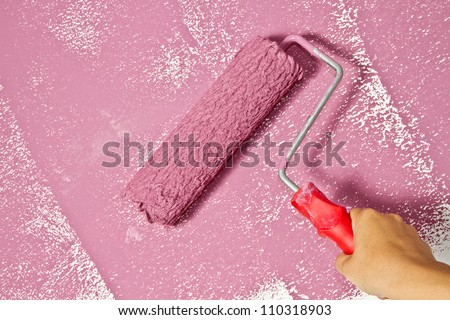 roller brush with pink pain