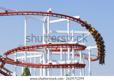 Roller coaster in amusement park.  - stock photo