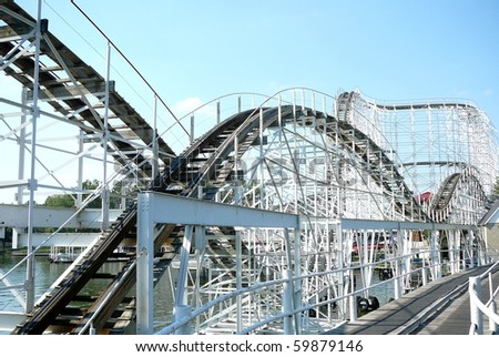 Roller Coaster, Indiana Beach Amusement Park - stock photo