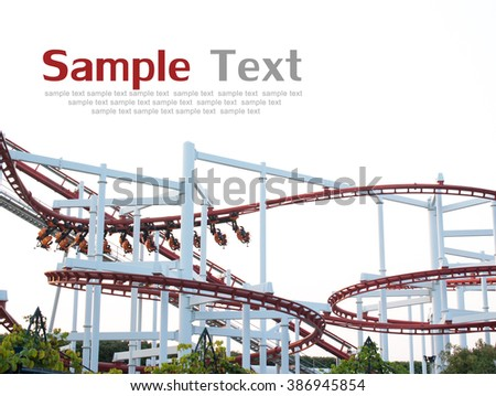 Roller coaster isolated on white background - stock photo