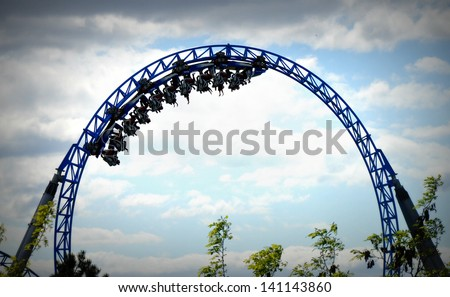 Roller Coaster Loop - stock photo